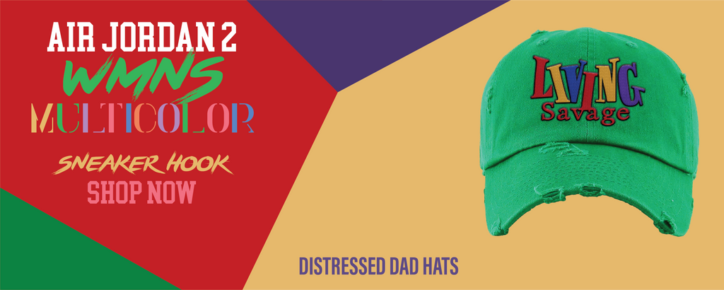 Jordan 2 WMNS Multicolor Distressed Dad Hats to match Sneakers | Hats to match Air Jordan 2 WMNS Multicolor Shoes
