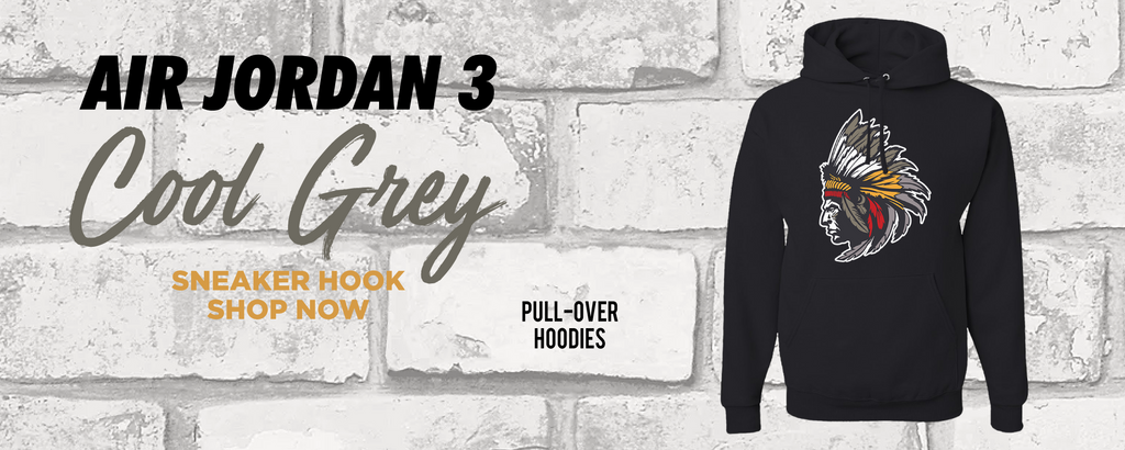 Air Jordan 3 Cool Grey Pullover Hoodies to match Sneakers | Hoodies to match Nike Air Jordan 3 Cool Grey Shoes