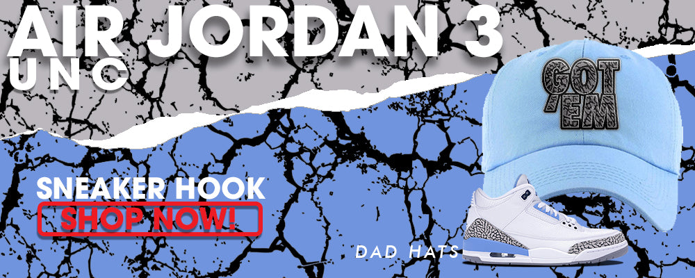 Jordan 3 UNC Dad Hats to match Sneakers | Hats to match Nike Air Jordan 3 UNC Shoes