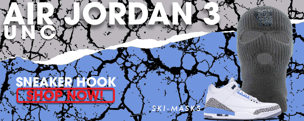 Jordan 3 UNC Ski Masks to match Sneakers | Winter Masks to match Nike Air Jordan 3 UNC Shoes