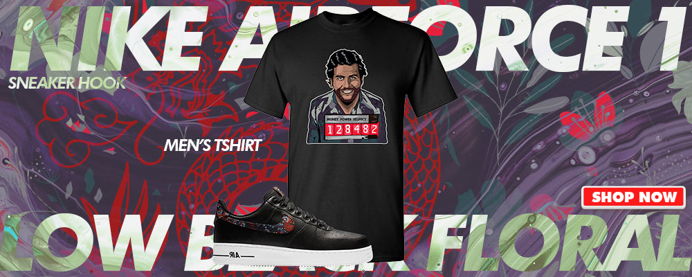 Air Force 1 Low Black Floral T Shirts to match Sneakers | Tees to match Nike Air Force 1 Low Black Floral Shoes