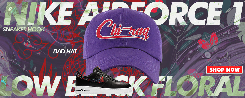 Air Force 1 Low Black Floral Dad Hats to match Sneakers | Hats to match Nike Air Force 1 Low Black Floral Shoes