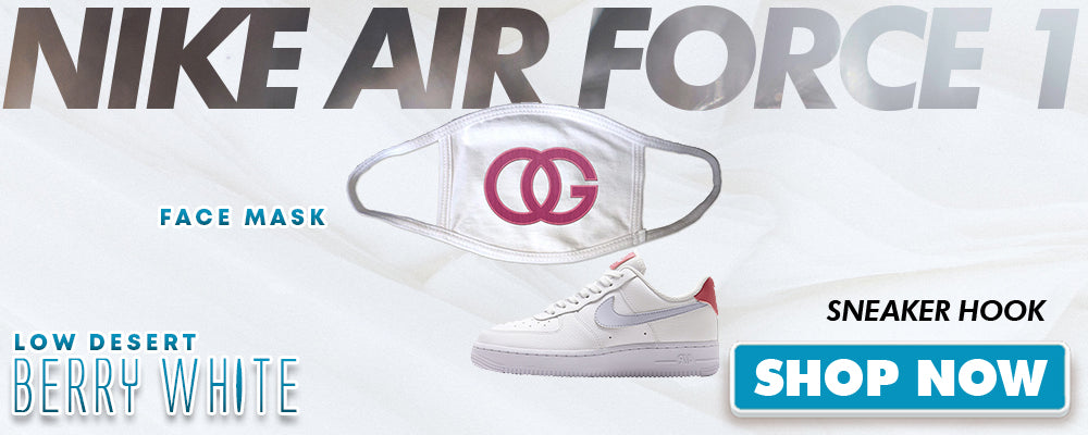 Air Force 1 Low Desert Berry White Face Mask to match Sneakers | Masks to match Nike Air Force 1 Low Desert Berry White Shoes