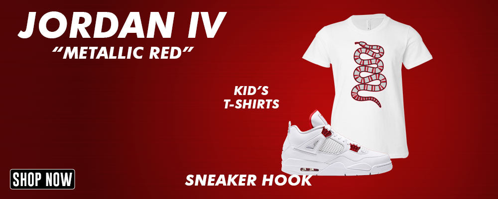 Jordan 4 Metallic Red Kid's T Shirts to match Sneakers | Youth's Tees to match Air Jordan 4 Metallic Red Shoes