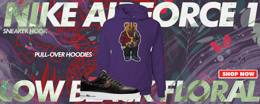 Air Force 1 Low Black Floral Pullover Hoodies to match Sneakers | Hoodies to match Nike Air Force 1 Low Black Floral Shoes