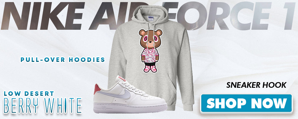 Air Force 1 Low Desert Berry White Pullover Hoodies to match Sneakers | Hoodies to match Nike Air Force 1 Low Desert Berry White Shoes