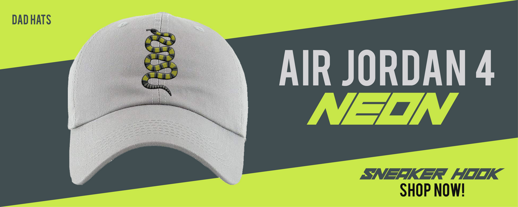 Jordan 4 Neon Dad Hats to match Sneakers | Hats to match Air Jordan 4 Neon Shoes