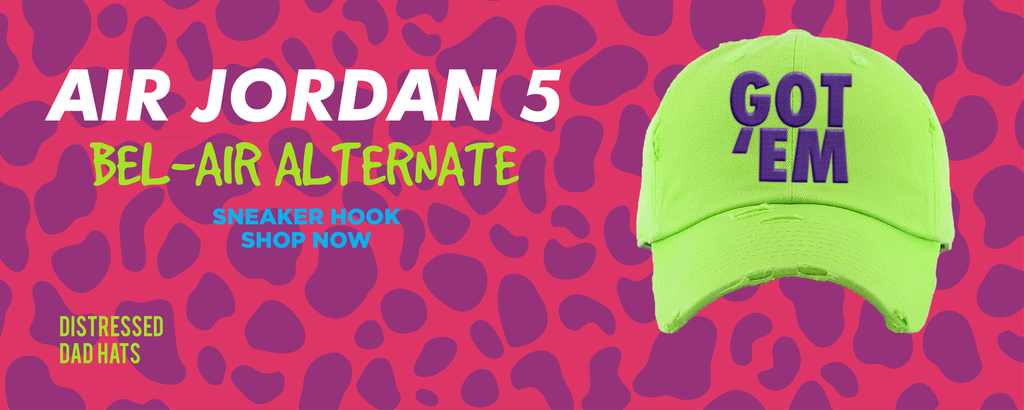 Air Jordan 5 Bel-Air Alternate Distressed Dad Hats to match Sneakers | Hats to match Nike Air Jordan 5 Bel-Air Alternate Shoes