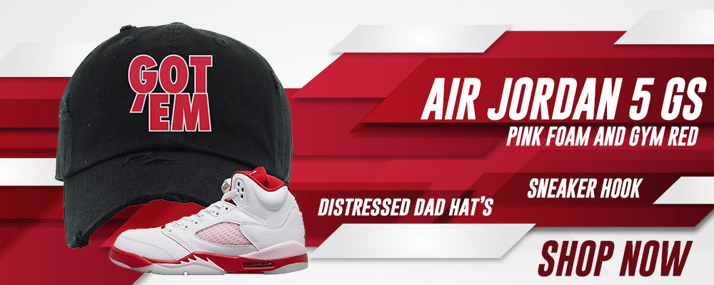 Air Jordan 5 GS Pink Foam and Gym Red Distressed Dad Hats to match Sneakers | Hats to match Nike Air Jordan 5 GS Pink Foam and Gym Red Shoes