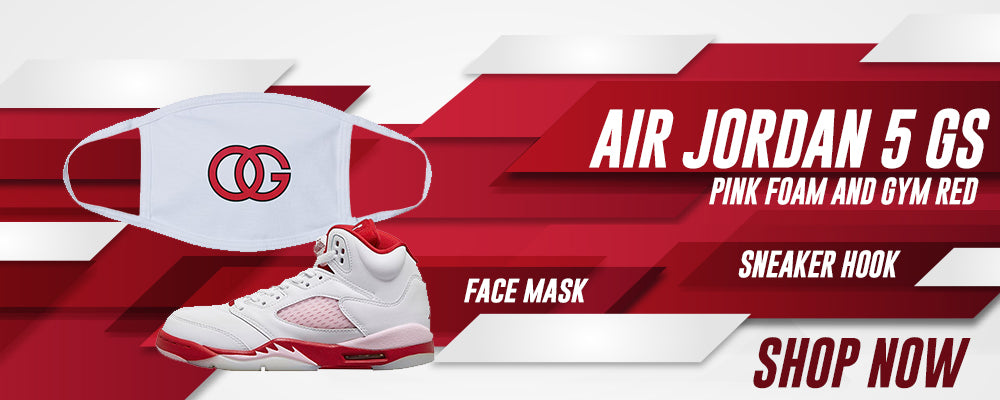 Air Jordan 5 GS Pink Foam and Gym Red Face Mask to match Sneakers | Masks to match Nike Air Jordan 5 GS Pink Foam and Gym Red Shoes