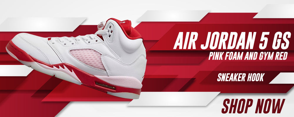 Air Jordan 5 GS Pink Foam and Gym Red Clothing to match Sneakers | Clothing to match Nike Air Jordan 5 GS Pink Foam and Gym Red Shoes