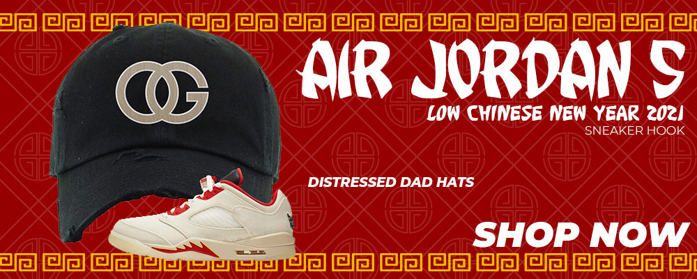 Air Jordan 5 Low Chinese New Year 2021 Distressed Dad Hats to match Sneakers | Hats to match Nike Air Jordan 5 Low Chinese New Year 2021 Shoes