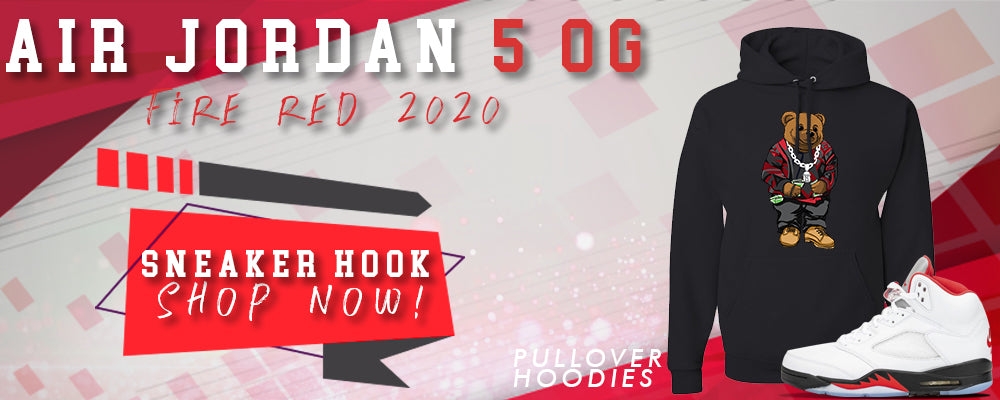 Jordan 5 OG Fire Red Pullover Hoodies to match Sneakers | Hoodies to match Air Jordan 5 OG Fire Red Shoes