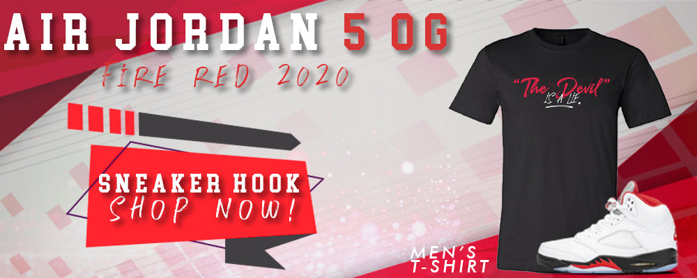 Jordan 5 OG Fire Red T Shirts to match Sneakers | Tees to match Air Jordan 5 OG Fire Red Shoes
