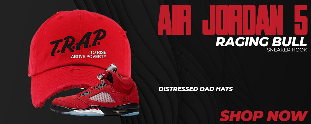 Air Jordan 5 Raging Bull Distressed Dad Hats to match Sneakers | Hats to match Nike Air Jordan 5 Raging Bull Shoes