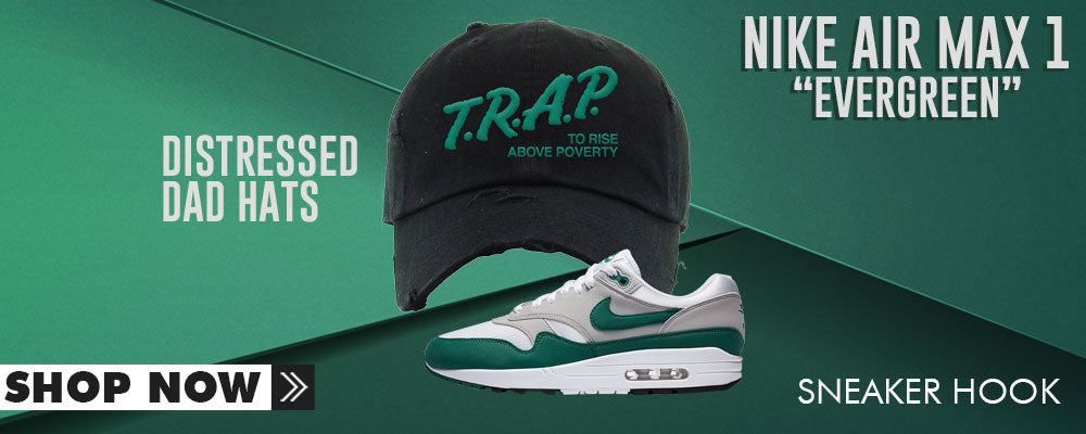 Air Max 1 Evergreen Distressed Dad Hats to match Sneakers | Hats to match Nike Air Max 1 Evergreen Shoes
