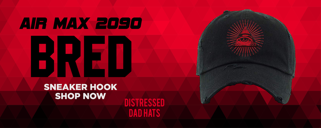 Air Max 2090 Bred Distressed Dad Hats to match Sneakers | Hats to match Nike Air Max 2090 Bred Shoes