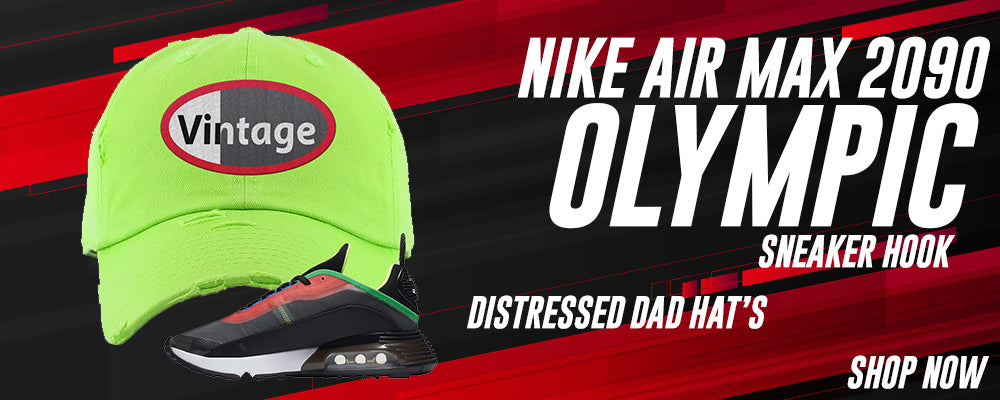 Air Max 2090 Olympic Distressed Dad Hats to match Sneakers | Hats to match Nike Air Max 2090 Olympic Shoes