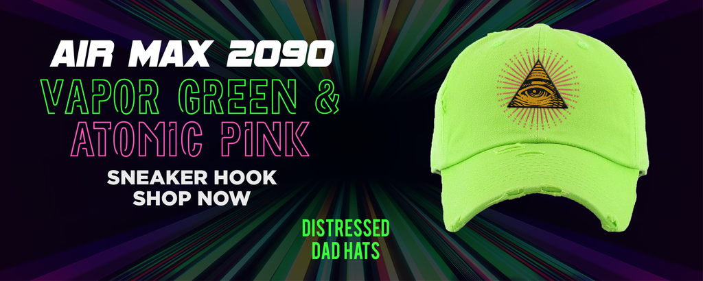 Air Max 2090 Vapor Green And Atomic Pink Distressed Dad Hats to match Sneakers | Hats to match Nike Air Max 2090 Vapor Green And Atomic Pink Shoes