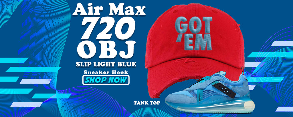 Air Max 720 OBJ Slip Light Blue Distressed Dad Hats to match Sneakers | Hats to match Nike Air Max 720 OBJ Slip Light Blue Shoes