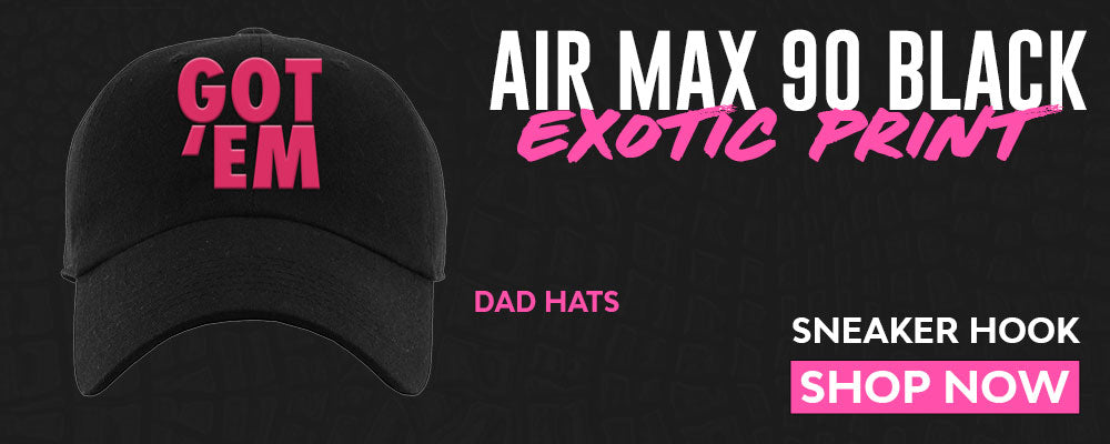 Air Max 90 Black Exotic Print Dad Hats to match Sneakers | Hats to match Nike Air Max 90 Black Exotic Print Shoes
