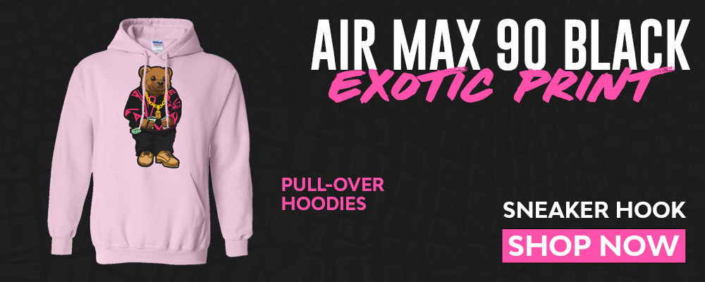 Air Max 90 Black Exotic Print Pullover Hoodies to match Sneakers | Hoodies to match Nike Air Max 90 Black Exotic Print Shoes