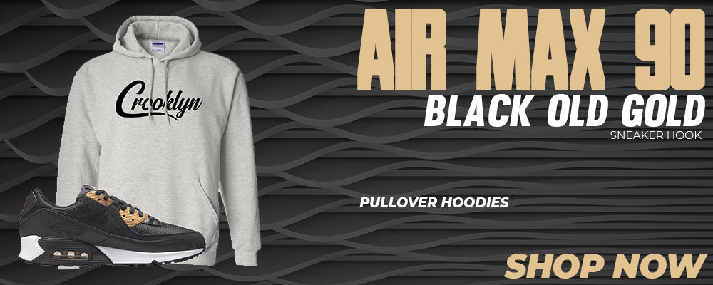 Air Max 90 Black Old Gold Pullover Hoodies to match Sneakers | Hoodies to match Nike Air Max 90 Black Old Gold Shoes