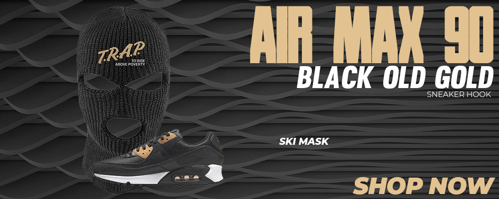 Air Max 90 Black Old Gold Ski Masks to match Sneakers | Winter Masks to match Nike Air Max 90 Black Old Gold Shoes