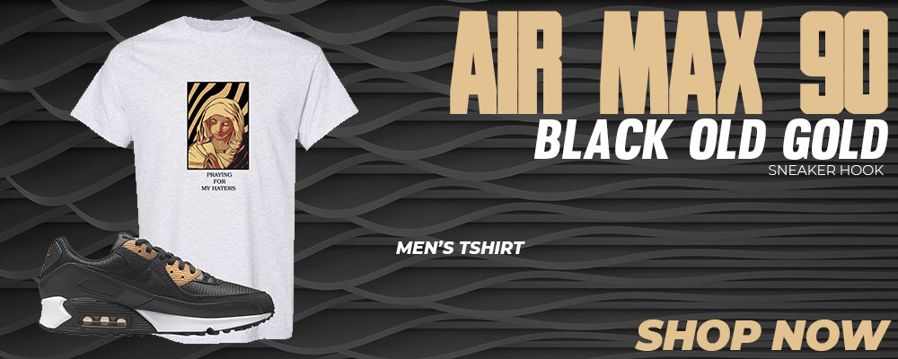 Air Max 90 Black Old Gold T Shirts to match Sneakers | Tees to match Nike Air Max 90 Black Old Gold Shoes