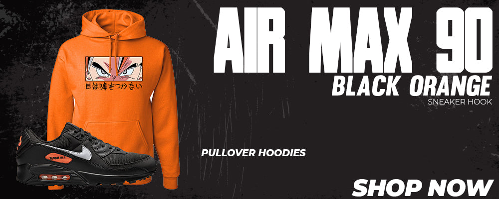 Air Max 90 Black Orange Pullover Hoodies to match Sneakers | Hoodies to match Nike Air Max 90 Black Orange Shoes