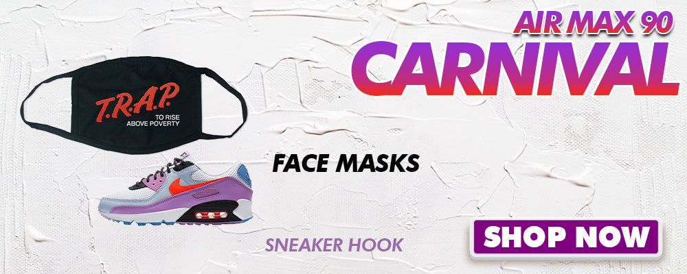 Air Max 90 Carnival Face Mask to match Sneakers | Masks to match Nike Air Max 90 Carnival Shoes