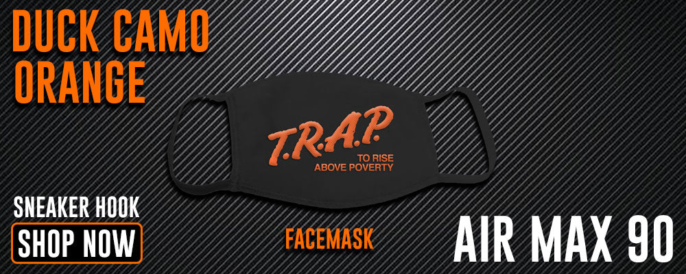 Air Max 90 Duck Camo Orange Face Mask to match Sneakers | Masks to match NIke Air Max 90 Duck Camo Orange Shoes