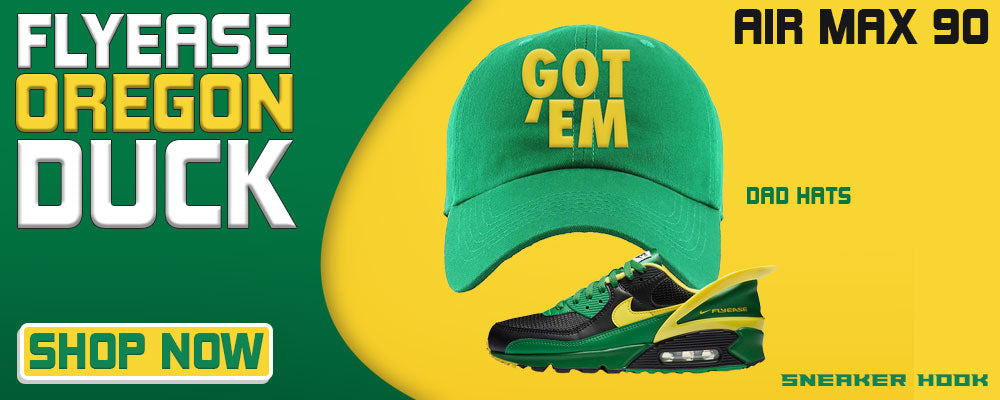 Air Max 90 FlyEase Oregon Ducks Dad Hats to match Sneakers   Hats to match Nike Air Max 90 FlyEase Oregon Ducks Shoes