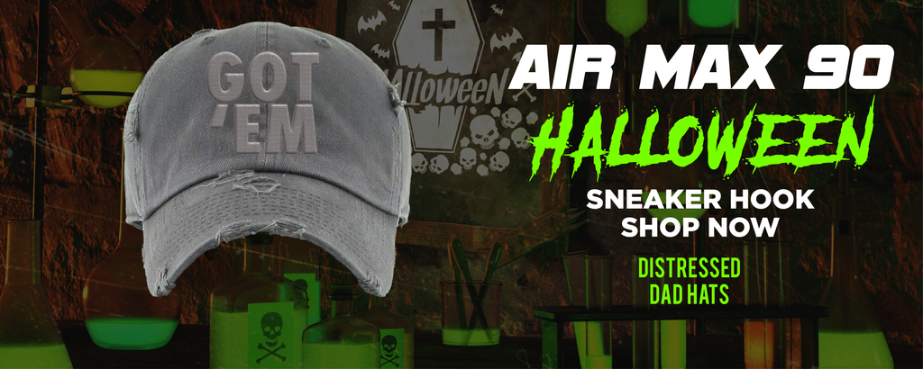 Air Max 90 Halloween Distressed Dad Hats to match Sneakers | Hats to match Nike Air Max 90 Halloween Shoes