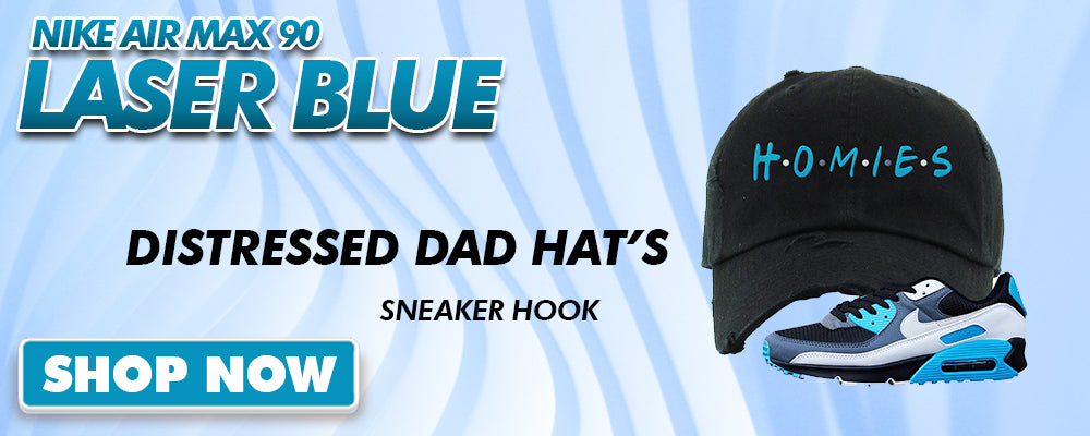 Air Max 90 Laser Blue Distressed Dad Hats to match Sneakers | Hats to match Nike Air Max 90 Laser Blue Shoes