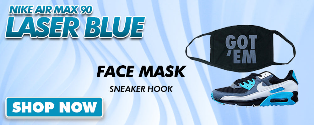 Air Max 90 Laser Blue Face Mask to match Sneakers | Masks to match Nike Air Max 90 Laser Blue Shoes