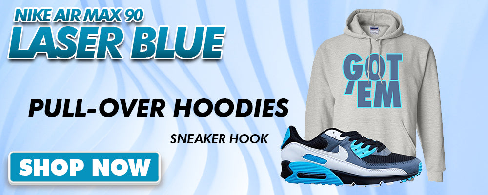 Air Max 90 Laser Blue Pullover Hoodies to match Sneakers | Hoodies to match Nike Air Max 90 Laser Blue Shoes