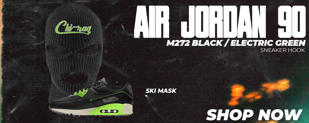 Air Max 90 M272 Black Electric Green Ski Masks to match Sneakers | Winter Masks to match Nike Air Max 90 M272 Black Electric Green Shoes