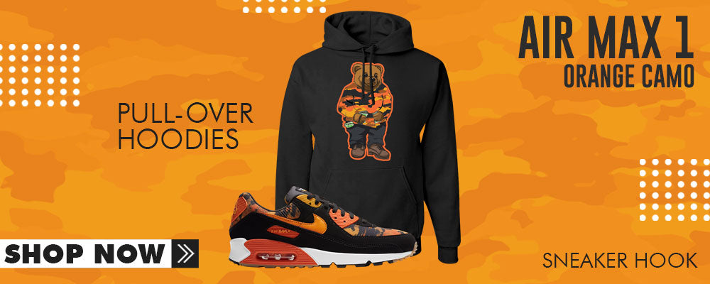 Air Max 90 Orange Camo Pullover Hoodies to match Sneakers | Hoodies to match Nike Air Max 90 Orange Camo Shoes