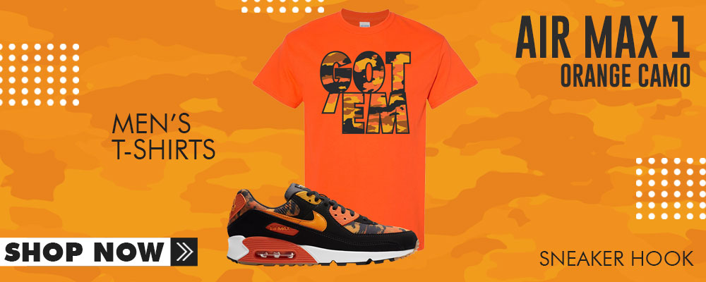 Air Max 90 Orange Camo T Shirts to match Sneakers | Tees to match Nike Air Max 90 Orange Camo Shoes