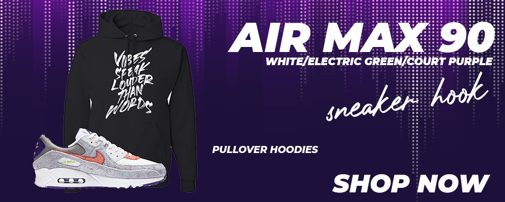 Air Max 90 White / Electric Green / Court Purple Pullover Hoodies to match Sneakers | Hoodies to match Nike Air Max 90 White / Electric Green / Court Purple Shoes