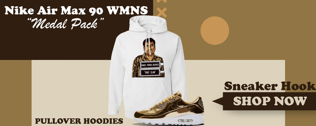 Air Max 90 WMNS 'Medal Pack' Gold Pullover Hoodies to match Sneakers | Hoodies to match Nike Air Max 90 WMNS 'Medal Pack' Gold Shoes