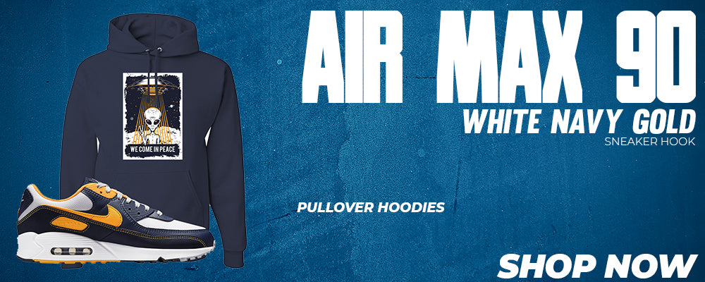 Air Max 90 White Navy Gold Pullover Hoodies to match Sneakers | Hoodies to match Nike Air Max 90 White Navy Gold Shoes