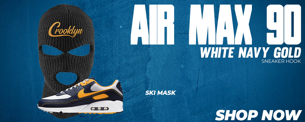 Air Max 90 White Navy Gold Ski Masks to match Sneakers | Winter Masks to match Nike Air Max 90 White Navy Gold Shoes