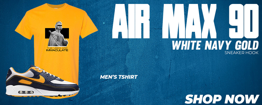 Air Max 90 White Navy Gold T Shirts to match Sneakers | Tees to match Nike Air Max 90 White Navy Gold Shoes