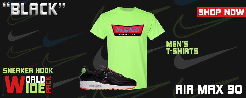 Air Max 90 Worldwide Pack 'Black' T Shirts to match Sneakers | Tees to match Nike Air Max 90 Worldwide Pack 'Black' Shoes