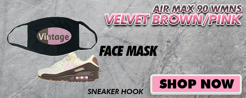 Air Max 90 WMNS Velvet Brown / Pink Face Mask to match Sneakers | Masks to match Nike Air Max 90 WMNS Velvet Brown / Pink Shoes
