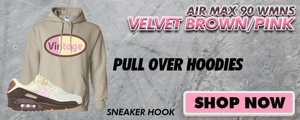 Air Max 90 WMNS Velvet Brown / Pink Pullover Hoodies to match Sneakers | Hoodies to match Nike Air Max 90 WMNS Velvet Brown / Pink Shoes