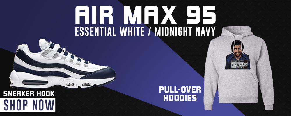 Air Max 95 Essential White / Midnight Navy Pullover Hoodies to match Sneakers | Hoodies to match Nike Air Max 95 Essential White / Midnight Navy Shoes