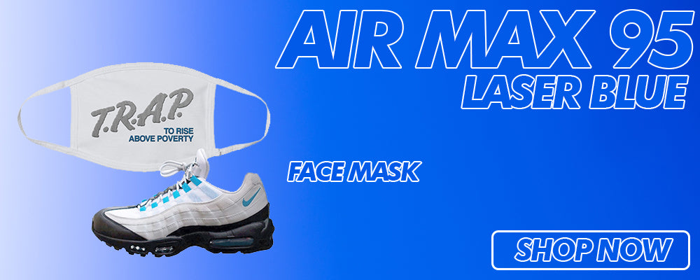 Air Max 95 Laser Blue Face Mask to match Sneakers | Masks to match Nike Air Max 95 Laser Blue Shoes